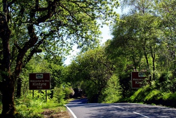 Road signs near Stonefield Castle.