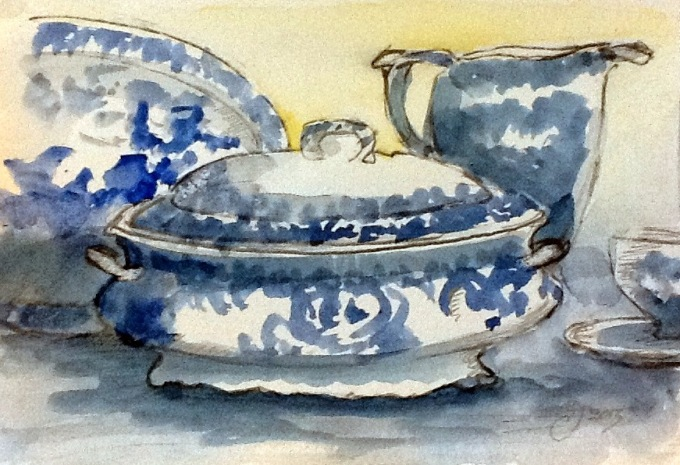 GJS2623 Blue and White China on the Dresser